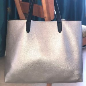 Large silver tote bag